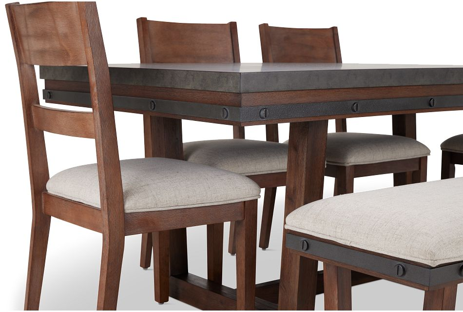 Forge Dark Tone Rect Table, 4 Chairs & Bench