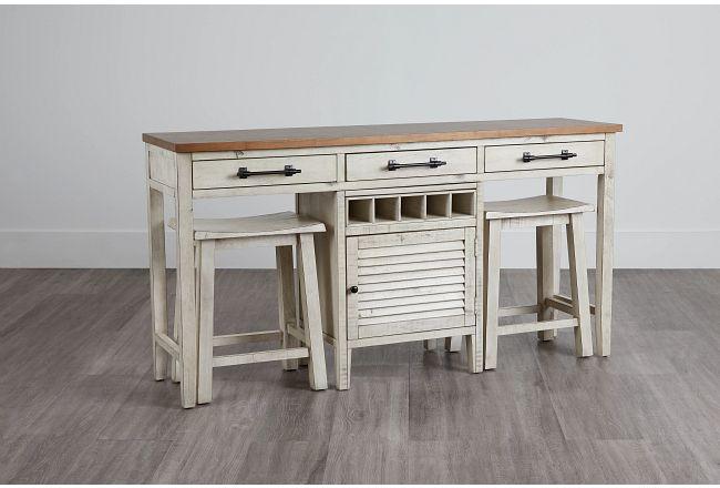 Chesapeake Two-tone High Table & 2 Barstools