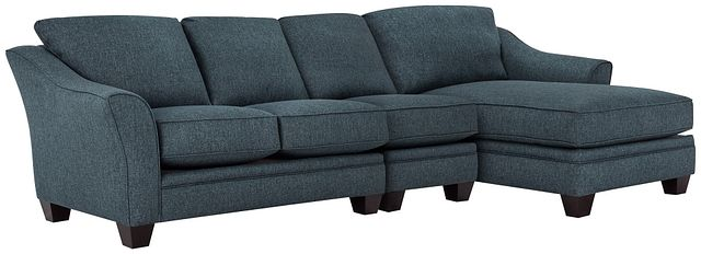 Avery Dark Blue Fabric Small Right Chaise Sectional (0)
