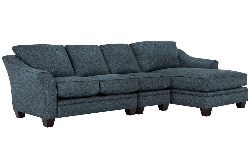 Avery Dark Blue Fabric Small Right Chaise Sectional