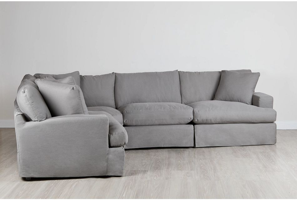 Delilah GRAY FABRIC Large Two-Arm Sectional,