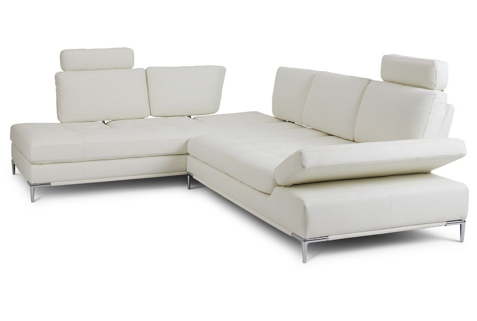 Camden White Micro Left Chaise Sectional With Removable Headrest