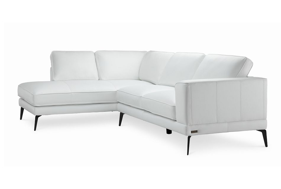 Naples White Leather Left Chaise Sectional With Black Legs