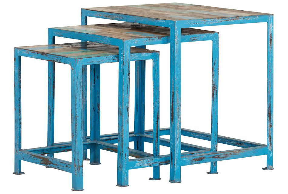 Elle Blue Set Of 3 Nesting Tables
