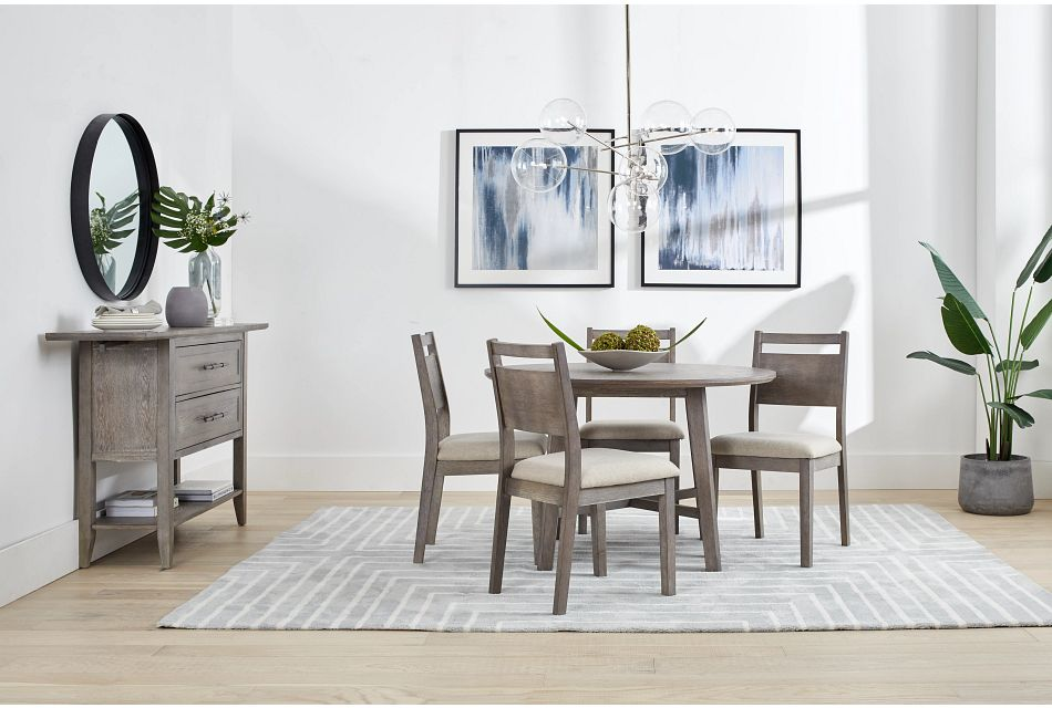 Rockville Light Tone Round Table & 4 Upholstered Chairs