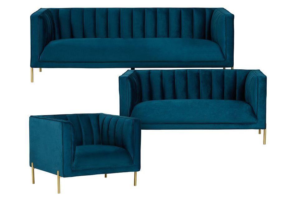 Bella Dark Blue Velvet Living Room