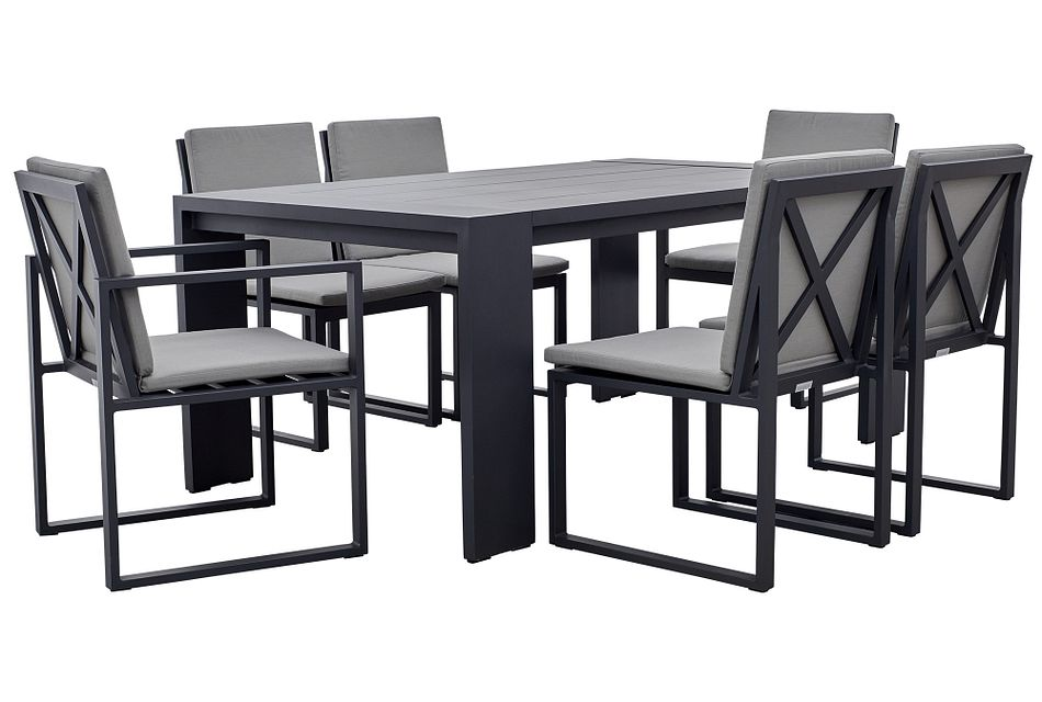 """Linear Dark Gray 70"""" Aluminum Table & 4 Cushioned Side Chairs"""