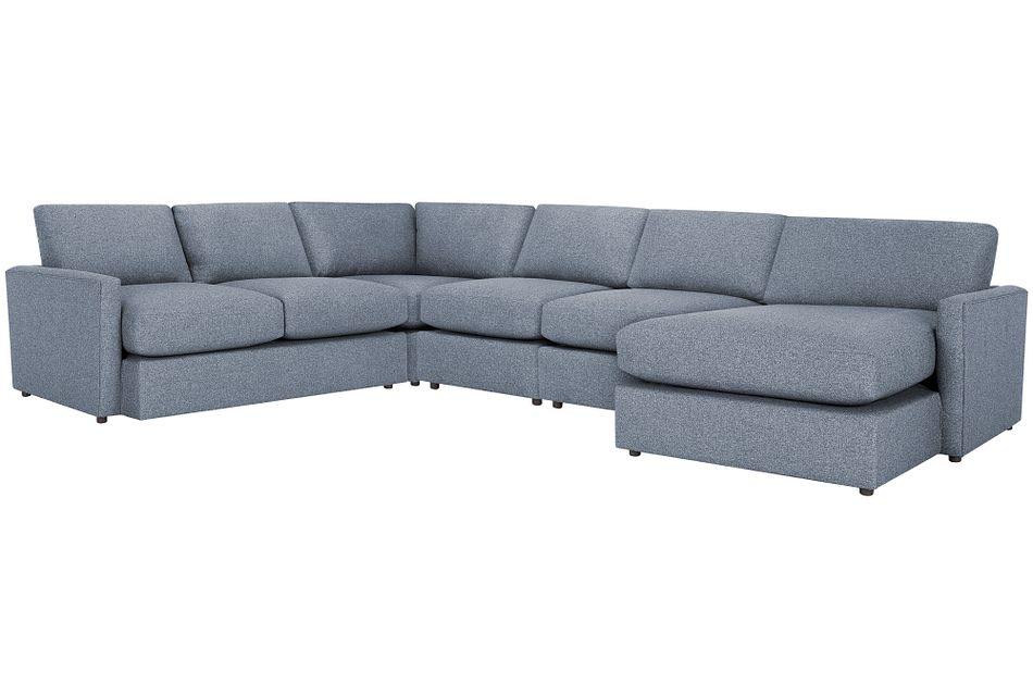 Noah Dark Gray Fabric Large Right Chaise Sectional