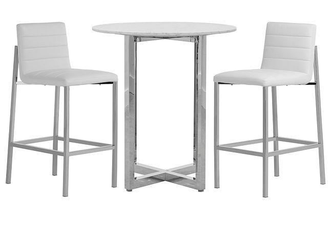 Amalfi White Marble Pub Table & 2 Upholstered Barstools