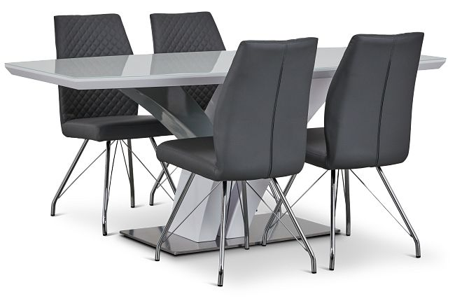 Lima Gray Table & 4 Upholstered Chairs