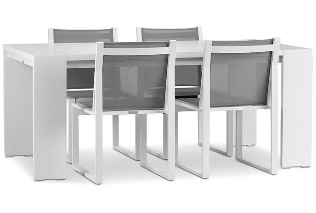 """Linear White 70"""" Aluminum Table & 4 Sling Side Chairs"""