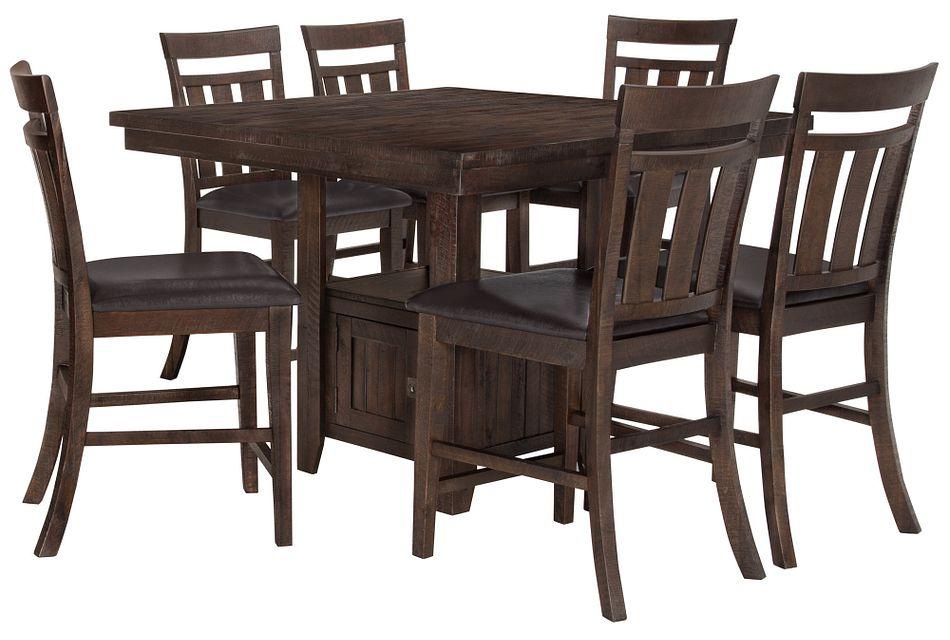 Kona Grove Dark Tone High Table & 4 Wood Barstools