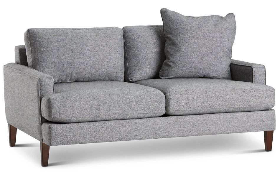 Morgan Dark Gray Fabric Loveseat With Wood Legs