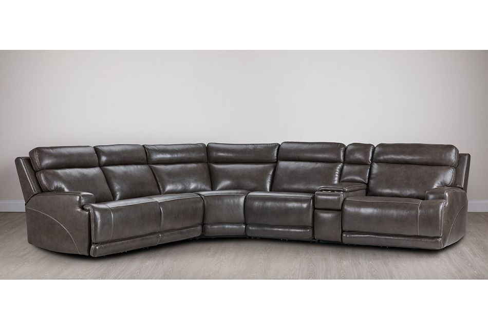 Valor Dark Gray Leather Medium Dual Power 2-arm Reclining Sectional