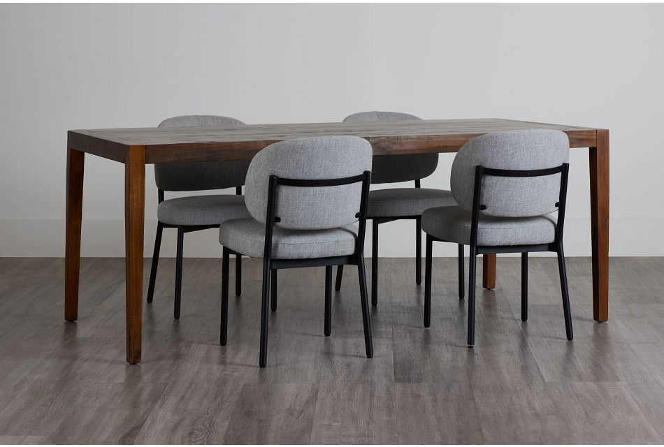 Chicago Dark Tone Rect Table & 4 Light Gray Upolstered Chairs,  (0)
