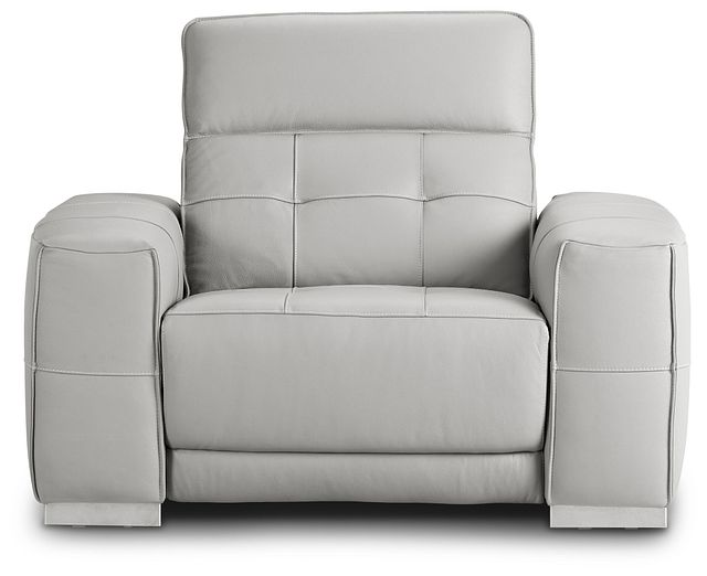Reva Gray Leather Power Recliner With Power Headrest