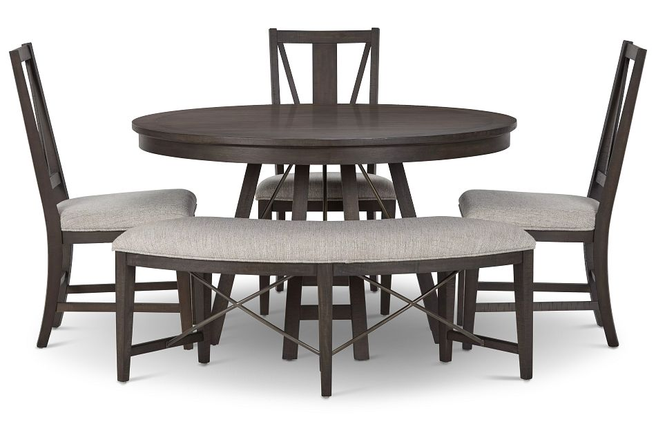 Heron Cove DARK TONE ROUND Table, 3 Chairs & Bench,  (3)