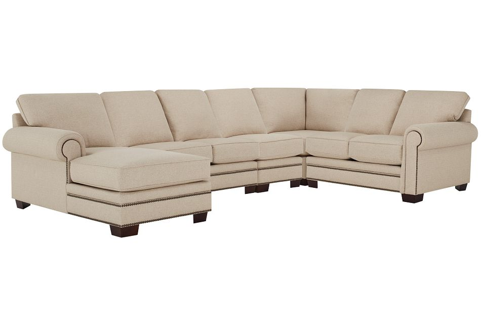 Foster Khaki Fabric Large Left Chaise Sectional