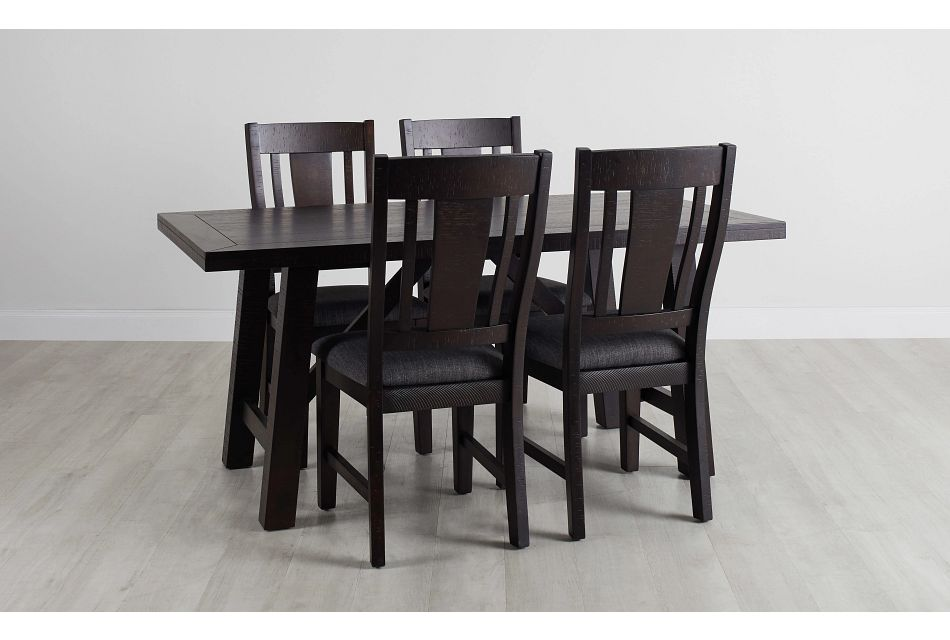 Cash Gray Rect Table & 4 Upholstered Chairs