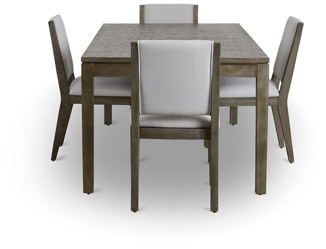 Bravo Dark Tone Rect Table & 4 Upholstered Chairs (2)