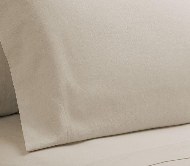Linen Blend Ivory Set Of 2 Pillowcases (2)