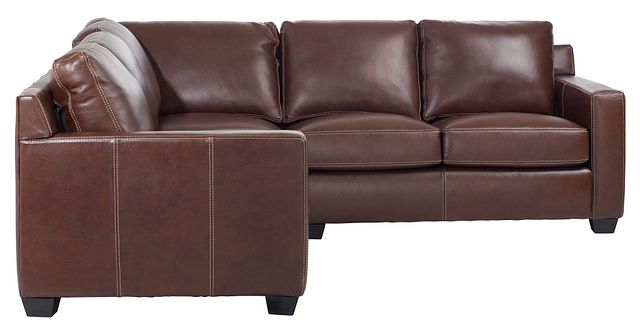 Carson Medium Brown Leather Small Two-arm Sectional (1)