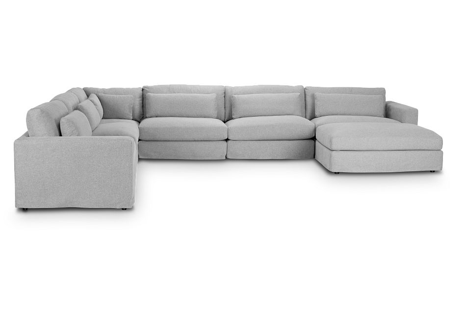 Cozumel Light Gray Fabric 7-Piece Chaise Sectional, %%bed_Size%% (1)