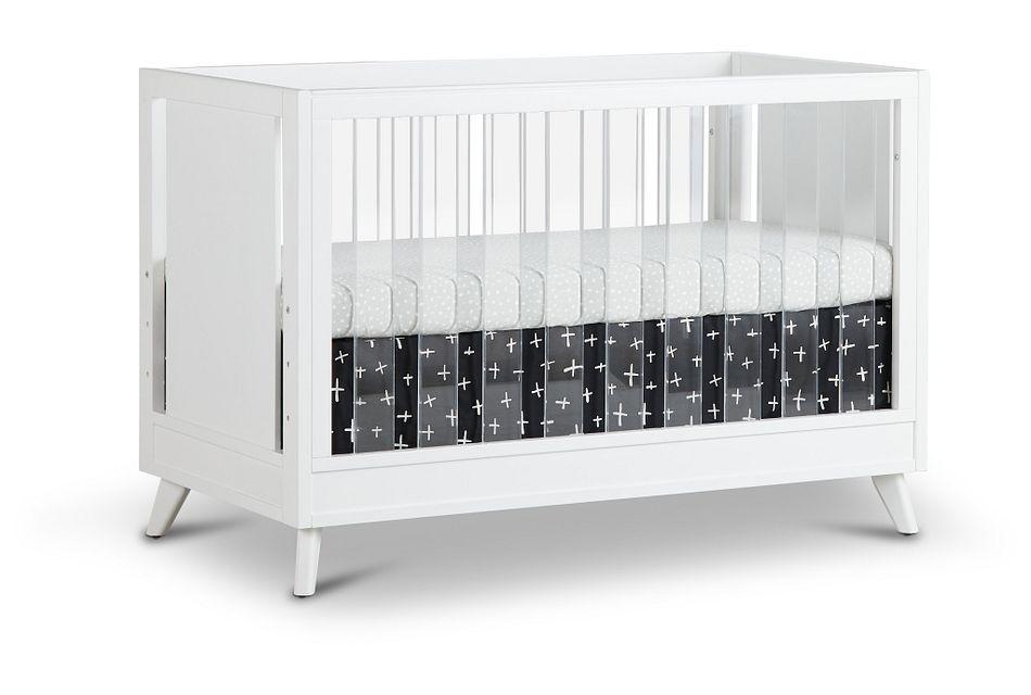 Kayson White Acrylic 3-in-1 Crib,  (1)