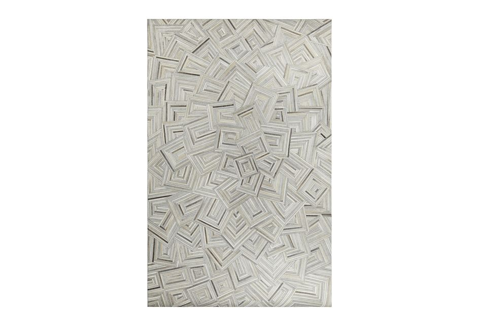 Puzzle Light Gray Leather 8x10 Area Rug