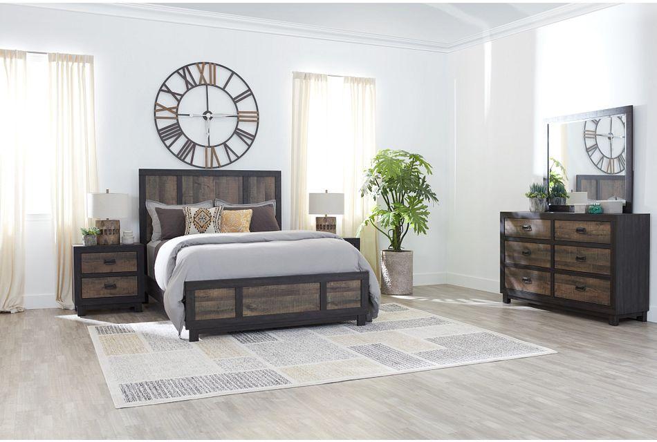 Harlington Dark Tone Panel Bedroom