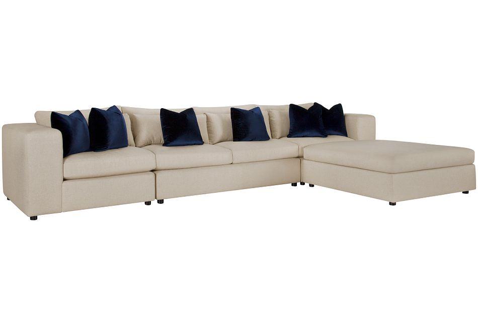 Como Light Beige  Fabric Large Sofa
