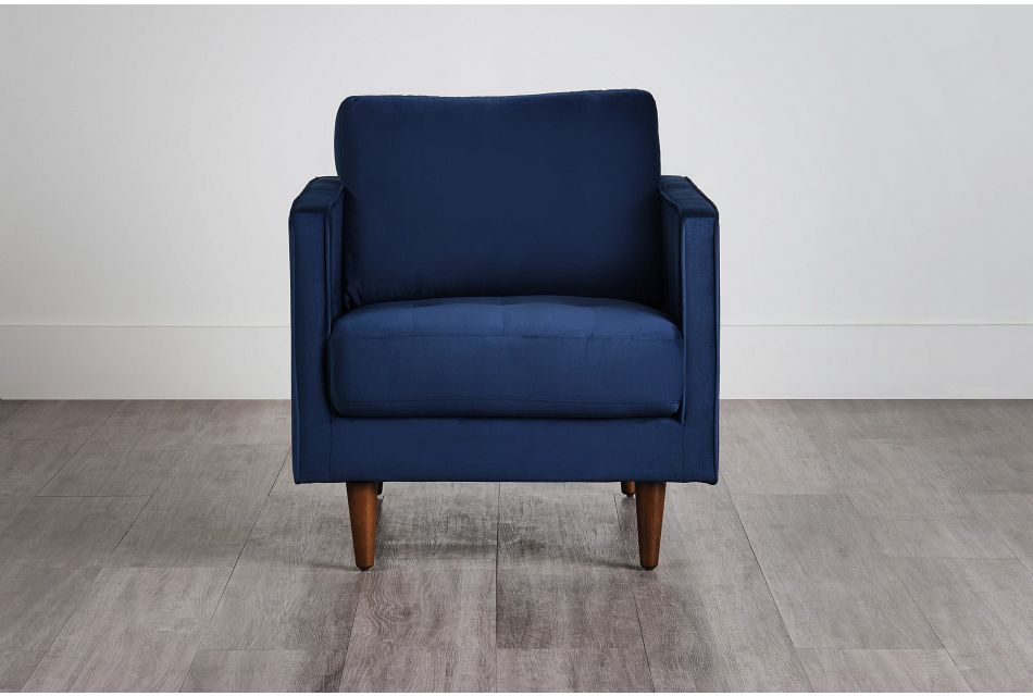 Luna Dark Blue Velvet Chair,  (0)