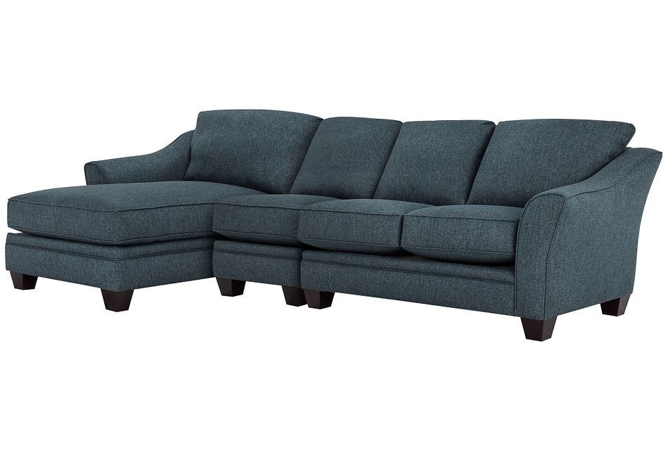Avery Dark Blue Fabric Small Left Chaise Sectional