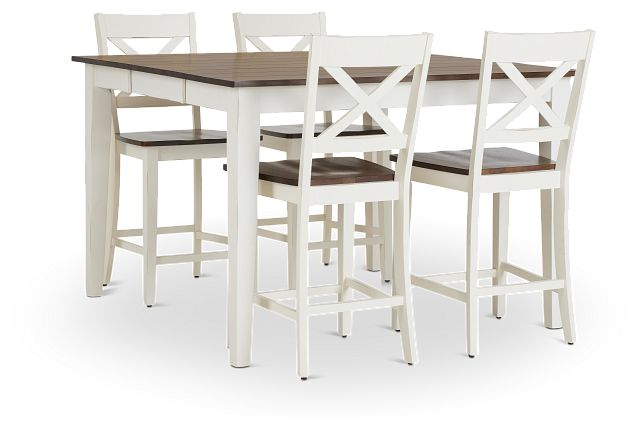 Sumter White High Table & 4 Barstools (3)