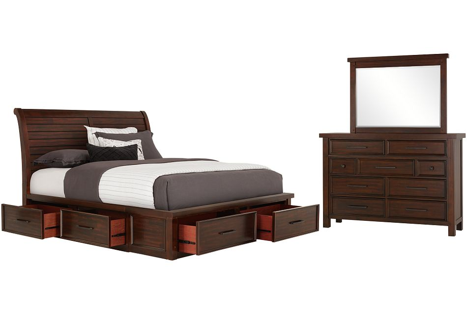 Napa Dark Tone 6-drawer Sleigh Storage Bedroom
