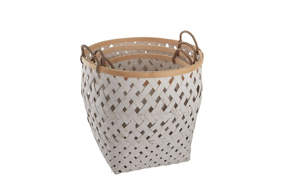 Kaine White Set Of 3 Basket
