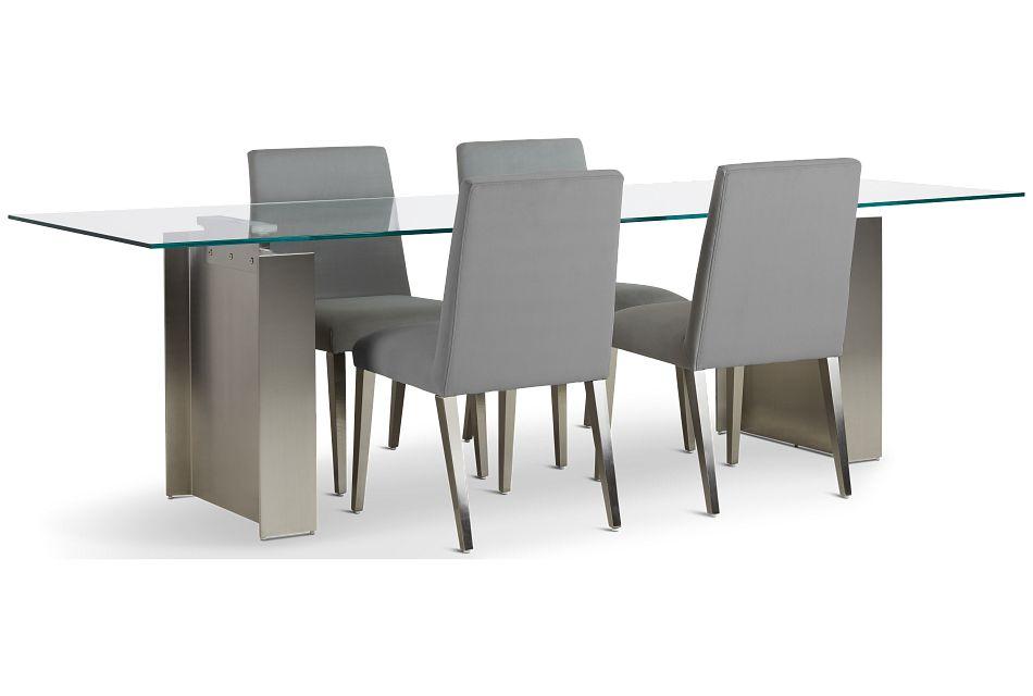 "Omnia Glass 104"" Rectangular Table & 4 Metal Chairs,  (2)"
