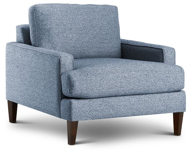 Morgan Blue Fabric Chair With Wood Legs (1)