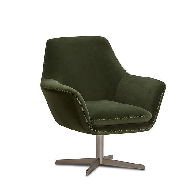 Xander Dark Green Velvet Swivel Accent Chair (1)
