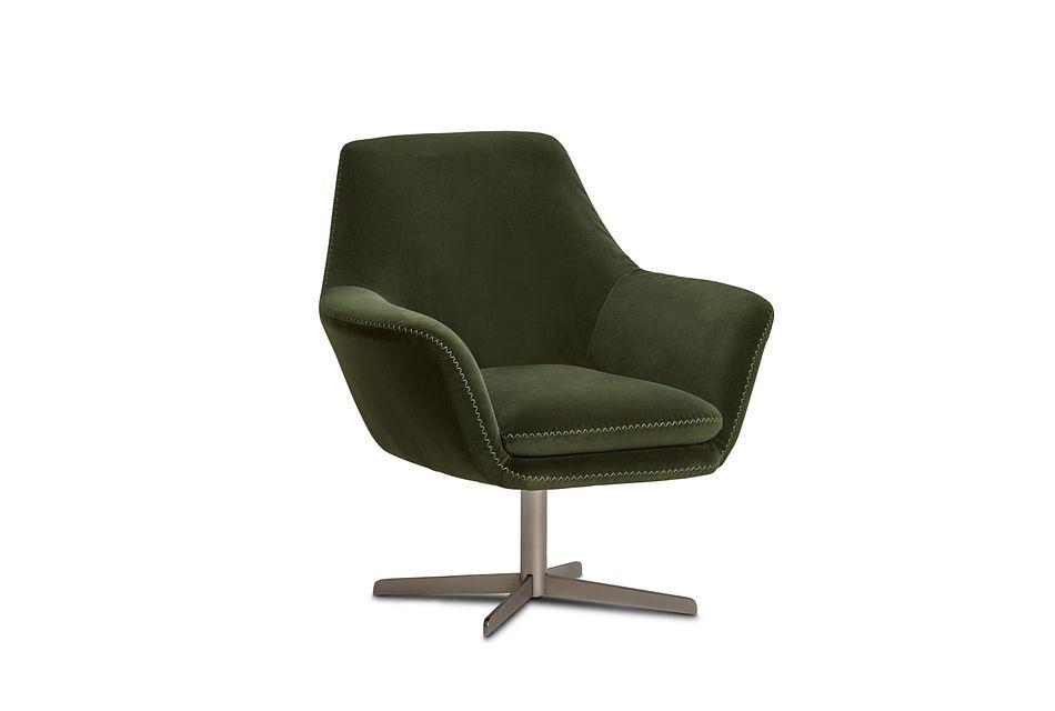 Xander Dark Green Velvet Swivel Accent Chair
