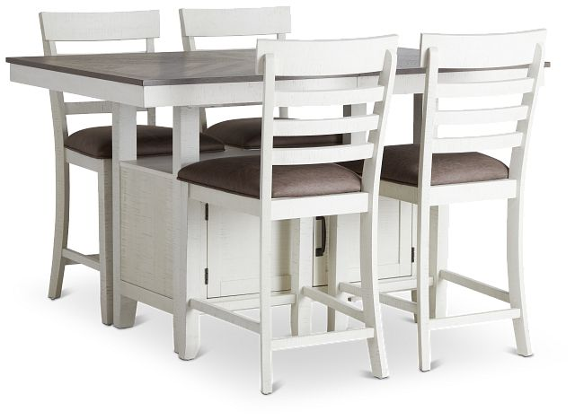 Huntsville Two-tone Rect High Table & 4 Barstools (2)