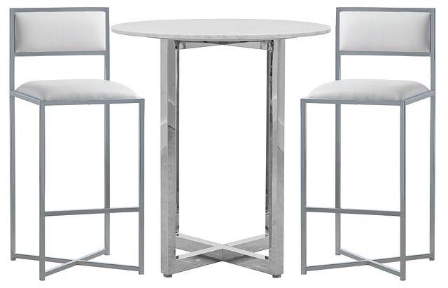 Amalfi White Marble Pub Table & 2 Metal Barstools (0)