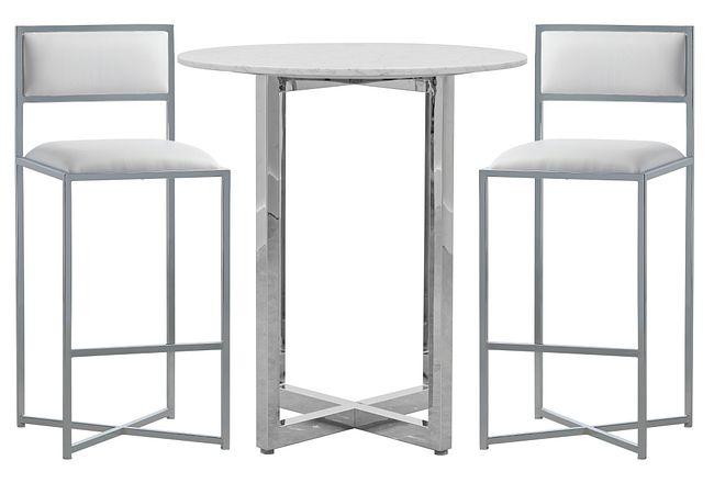 Amalfi White Marble Pub Table & 2 Metal Barstools