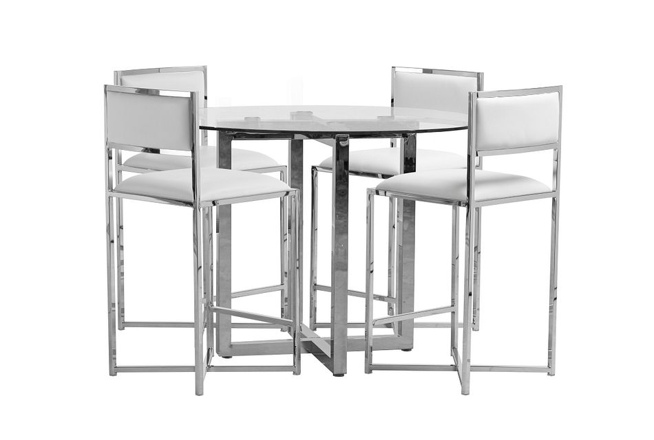 Amalfi White Glass High Table & 4 Metal Barstools