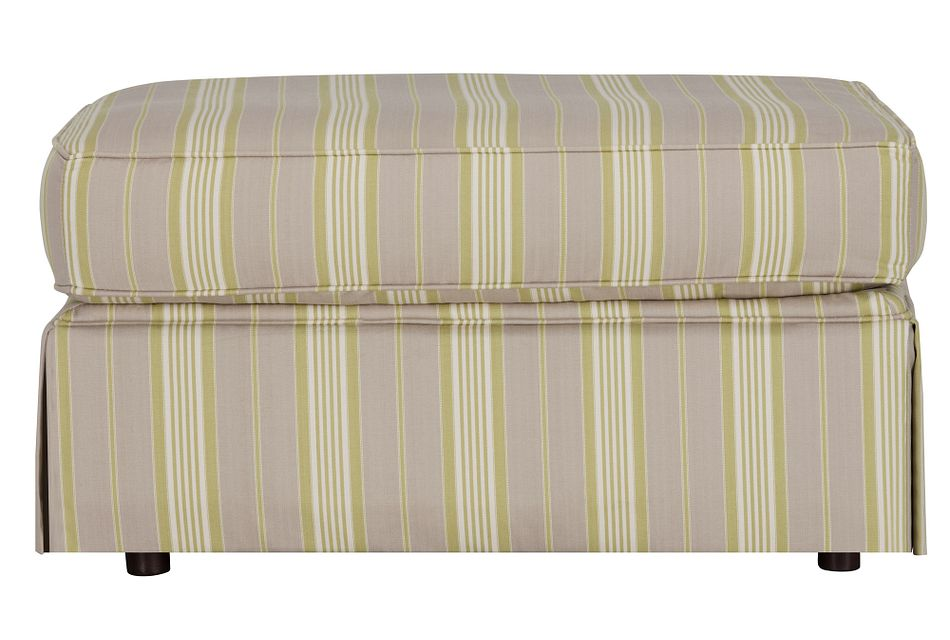 Jolie Light Green  Stripe Ottoman