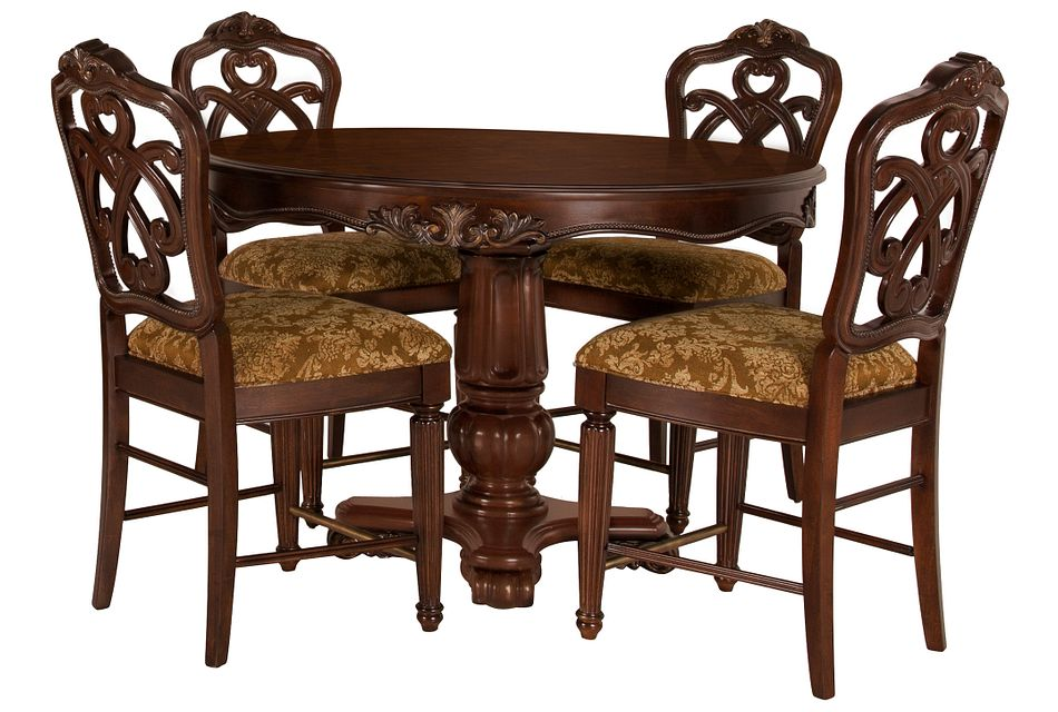 Regal DARK TONE ROUND High Table & 4 Wood Barstools