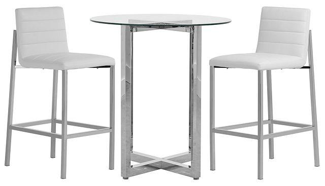 Amalfi White Glass Pub Table & 2 Upholstered Barstools (0)