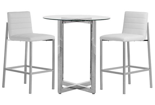 Amalfi White Glass Pub Table & 2 Upholstered Barstools