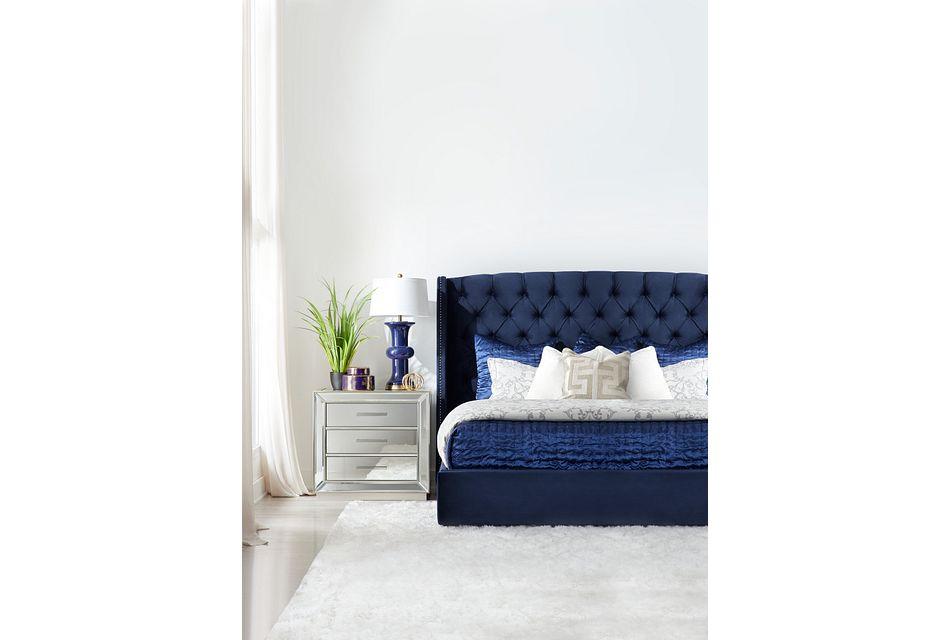 Raven Dark Blue Uph Platform Bed, King (2)