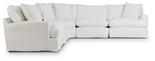 Delilah White Fabric Small Two-arm Sectional